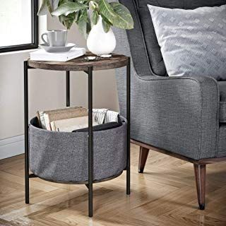 Nathan James 32201 Oraa Round Wood Side Table With Fabric Storage