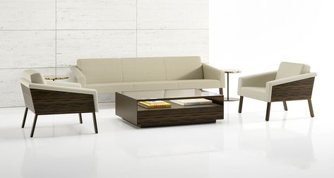 The collection offers an extra-wide lounge chair ideal for application as a handsome statement piece in a reception area, hotel lobby or other public setting.