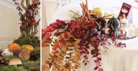 Composizione autunnale realizzata da Sweet White Weddings con foglie, cannella, zucche e bacche. Design e realizzazione Sweet White Weddings.