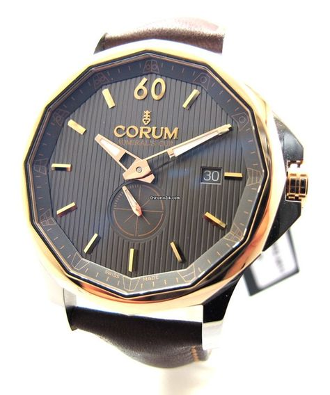Corum Admiral's Cup Legend 42mm Two Tone (Charcoal Dial) $3,790 #Corum #watch #watches #chronograph steel case with leather bracelet & automatic movement