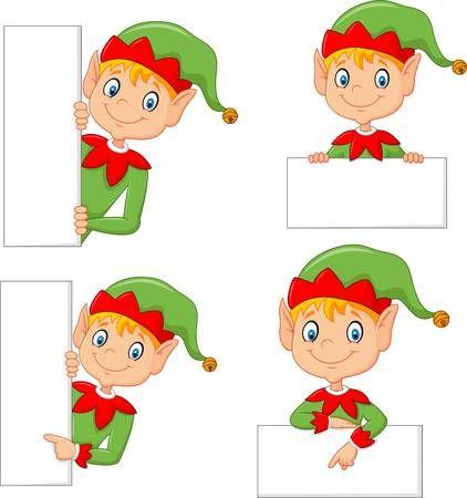 Vector Illustration Of Cartoon Cute Elf With Blank Christmas Yard Art Christmas Vectors Christmas Crafts