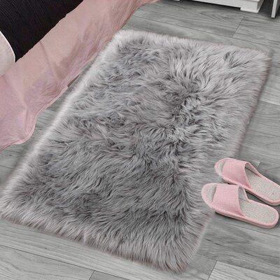 Everly Quinn Hadlock 2 X 3 Faux Sheepskin Gray Area Rug Plush Carpet Faux Fur Rug Bedroom Rug