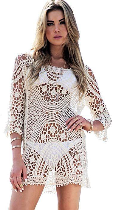 bb8a6cd6be73 MingTai Vestidos de Encaje Crochet Bikini Encima de Hueco Playa ...