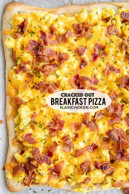 Cracked Out Breakfast Pizza loaded with cheddar, bacon and Ranch! Easy enough for a weekday breakfast Refrigerated pizza crust topped with ranch dressing, scrambled eggs, bacon and cheddar cheese We love this for breakfast, lunch and di - p Breakfast Buffet, Breakfast Items, Bacon Breakfast Casserole, Chicken Breakfast, Breakfast Bake, Breakfast For Dinner, Breakfast Pizza Recipes, Breakfast Pizza Recipe With Crescent Rolls, Caseys Breakfast Pizza