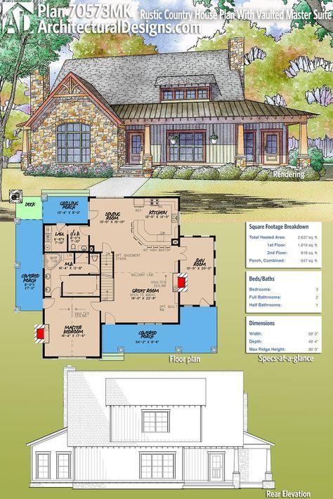 Plan 70573mk Rustic Country House Plan With Vaulted Master Suite Rustic House Plans Country House Plan House Plans