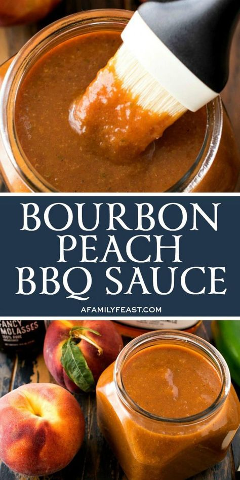Cook up a batch of this Bourbon Peach BBQ Sauce, and you'll be tempted to slather it on everything! Cook up a batch of this Bourbon Peach BBQ Sauce, and you'll be tempted to slather it on everything! Homemade Bbq Sauce Recipe, Barbecue Sauce Recipes, Grilling Recipes, Bbq Sauces, Vegetarian Grilling, Healthy Grilling, Smoker Recipes, Rib Recipes, Bourbon Barbeque Sauce Recipe
