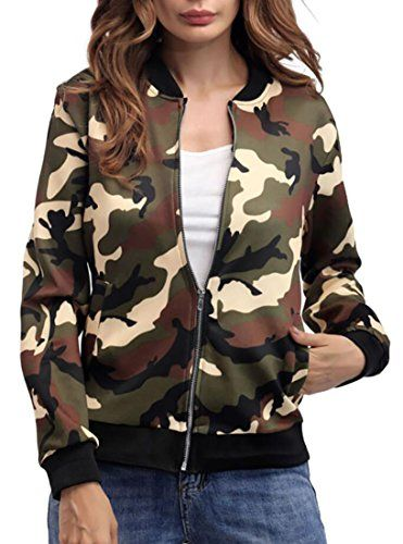 7462486492dd8 S-Fly Womens Lightweight Zipper Pockets Slim Fit Camo Bomber Baseball  Jacket 2 L
