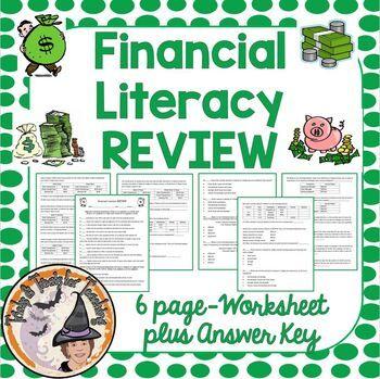 Financial Literacy Review 6 Page Worksheet Plus Answer Key Financial Literacy Math Teks Literacy 6th grade math teks worksheets