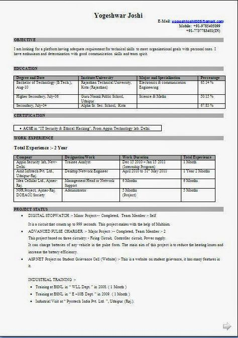 Curriculum Vitae Template South Africa Sample Template Example   Project  Based Resume  Project Based Resume