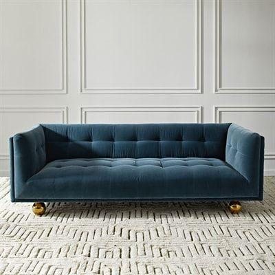Jonathan Adler 24250 Claridge Velvet Full Sofa Modern