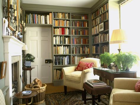 What an awesome library!  You could do this in any small room of the house... put glass french doors with curtains, and a few good chairs/lamps--- would feel like Mom's library.  I like the colored shelves=)