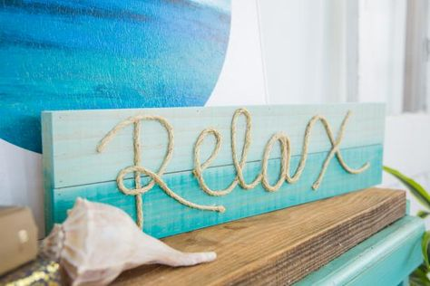 Not Just Nautical: DIY This Inspirational Rope Sign, DIY and Crafts, Need a mantel-finishing piece, a flawless gallery wall addition or even a simple last-minute gift? This customizable DIY rope sign is just what you'. Nautical Home Decorating, Coastal Decor, Diy Home Decor, Nautical Decor Outdoor, Nautical Bedroom Decor, Rustic Beach Decor, Ocean Bedroom, Nautical Interior, Master Bedroom