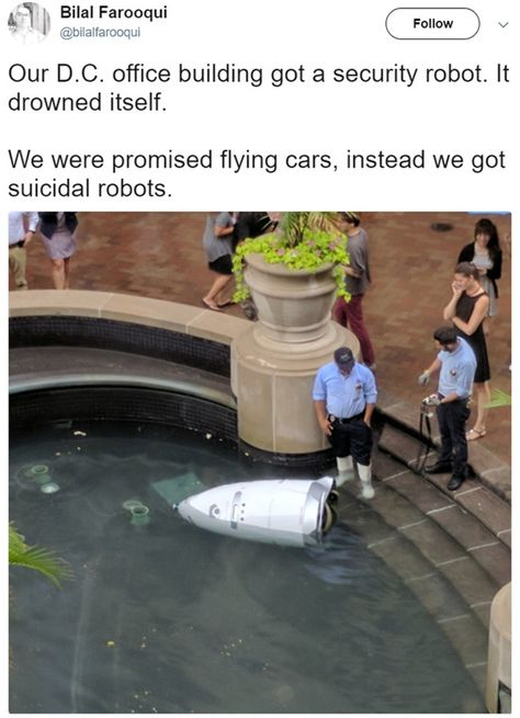 Security Guard Robot Decides to End Itself by Driving into a Shopping Centre Pond - BlazePress