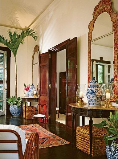 Architectural Digest Blue and white Chinese ginger jars and a blue and white Chinese planter in this British Colonial entryway. Colonial India, British Colonial Decor, French Colonial, British Decor, Architectural Digest, West Indies Decor, West Indies Style, Tropical Houses, Tropical Decor