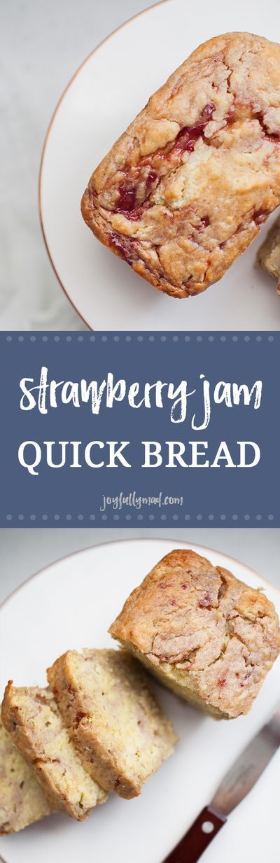 This strawberry jam quick bread is a special treat that the whole family can enjoy! Make mini loaves and give them as gifts! #strawberry #quickbread #strawberrybread #miniloaf