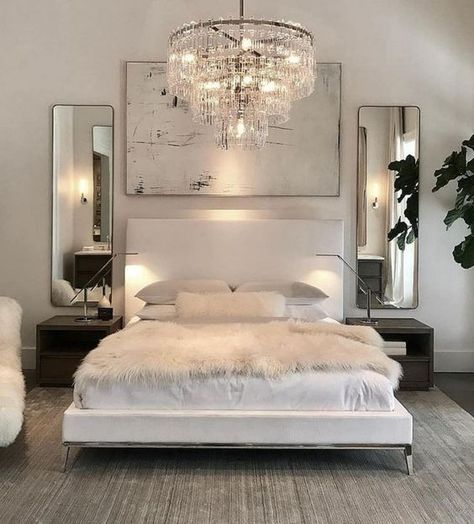 Luxury All White Bedroom Decor Luxury bedroom with white bed, white walls, chrome assents, crystal chandaleer, and sheepskin blanket Luxury Bedroom Design, Master Bedroom Design, Master Suite, Master Bedrooms, Glam Master Bedroom, Glamour Bedroom, Simple Bedroom Design, Girl Bedrooms, Romantic Bedroom Design