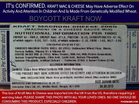 Illegal GMO Wheat in Kraft Mac