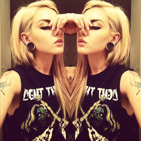 stretched ears blonde black