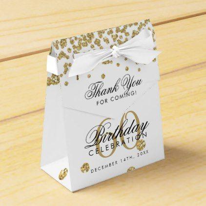 Gold 60th Birthday Thank You Confetti White Favor Box