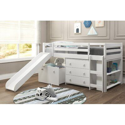 Harriet Bee Renley Complete Twin Low Loft Bed With Drawer And Bookcase Bed Frame Colour White Low Loft Beds Bed With Drawers Mini Loft