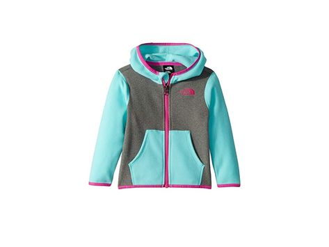 416820600 The North Face Kids Glacier Full Zip Hoodie (Infant) (Mint Blue) Girl's  Sweatshirt. The cozy Glacier Hoodie is just the ticket after a cold day of  sledding ...