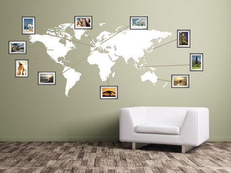 Nice Wand im Wohnzimmer Weltkarte als Wanddeko Wohnzimmer Pinterest Interiors Decoration and Living rooms