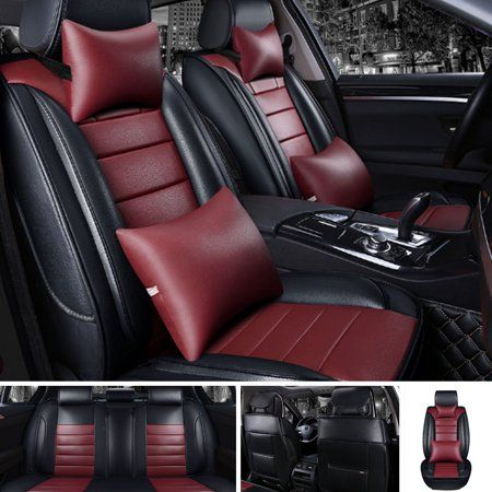 5 Seats Car Front Rear Full Pu Leather Breathable Car Seat Cover