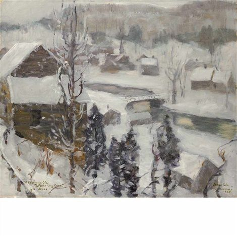 """""""Snowing,"""" Jonas Lie, 1925, oil on canvas, 25 x 30"""", private collection."""