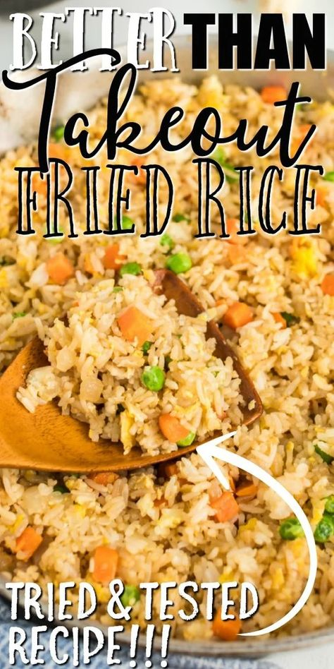Better Than Takeout Fried Rice - This quick and easy fried rice recipe is better than take out. It's restaurant style, but created - Better Than Takeout Fried Rice - This quick and easy fried rice recipe is better than take out. It's restaurant style, bu Quick And Easy Fried Rice Recipe, Stir Fried Rice Recipe, Easy Rice Recipes, Easy Dinner Recipes, Chicken Fried Rice Recipe Easy, Simple Fried Rice, Fried Rice Recipes, Chicken Stir Fry Rice, Fried Rice Seasoning