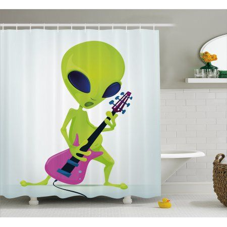 Popstar Party Shower Curtain Cartoon Alien Character Playing