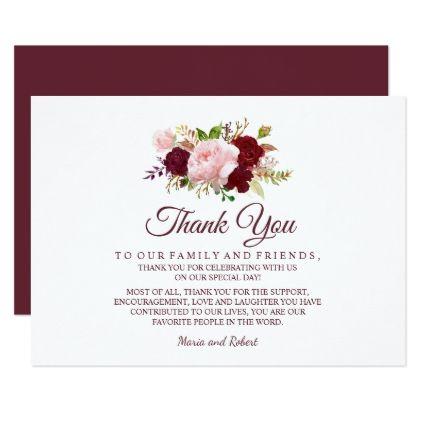 Burgundy Marsala Fl Wedding Thank You Card