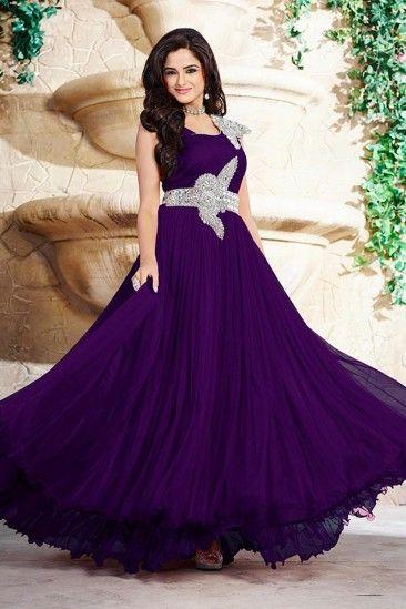b56bb1452742 Purple Georgette Prom Dresses Gown - DMV14999