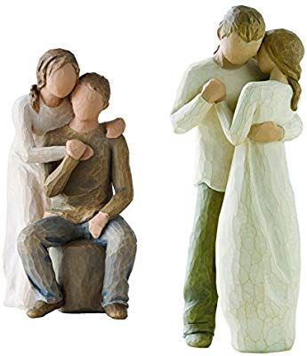Amazon Com Demdaco Willow Tree Figurines By Susan Lordi Promise And You And Me Home Kitchen Schnitzen Figur Keramik