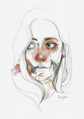 Acuarela Y Lapiz Ana Santos Ilustraciones Artisticas Retrato Acuarela Ilustracion Acuarela