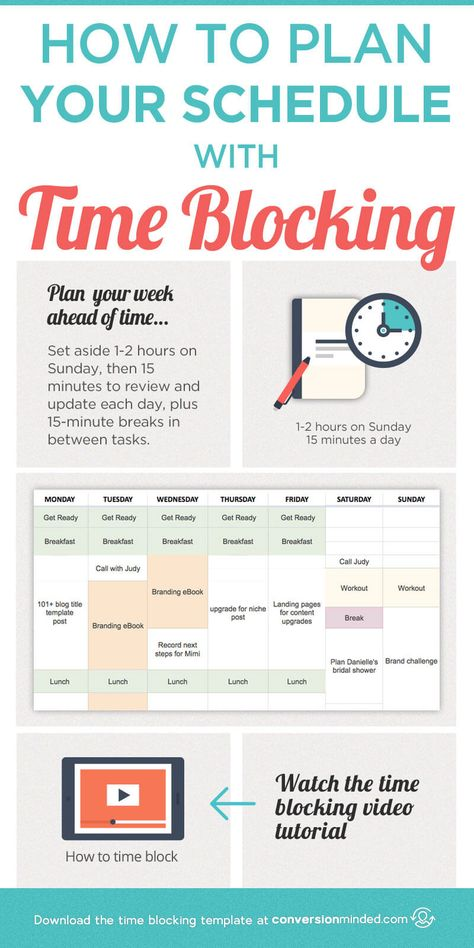 How to Plan Your Schedule with Time Blocking (Plus a Video Tutorial!) This post includes time management tips plus a time blocking template and step by step planner on how to use time blocking to plan your schedule and increase productivity. Click through