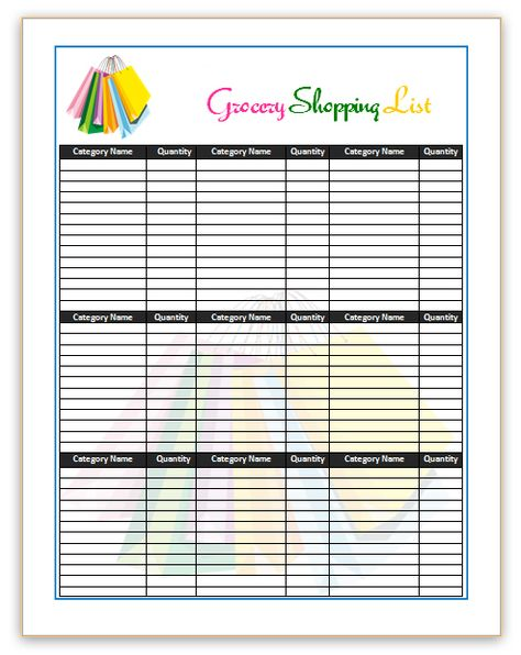 shopping-list-template shopping list Pinterest Template - editable shopping list template