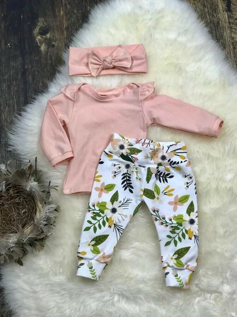 Pasgeboren meisje Coming Home outfit baby meisje take home Cute Newborn Baby Clothes, Baby Outfits Newborn, Baby Girl Newborn, Cute Baby Outfits, Baby Girl Headbands, Girls Coming Home Outfit, Take Home Outfit, Shower Bebe, Baby Shower