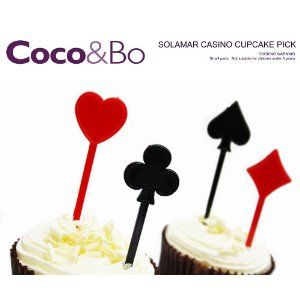 30 x Coco - Solamar Casino Cupcake Decorations - Picks / Toppers - Alice in Wonderland Mad Hatters Tea Party / Vegas James Bond Casino Party