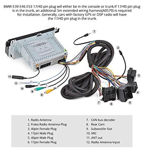 Eonon A0579 Harness Only For Bmw E46 E39 E53 Ga9150kw Ga8150a Ga8201a Ga8201 Ga8166 Ga7150 Ga7201 Ga7166 17 Pin 40 Pin Ext Bmw E46 Bmw Mercedes Smart