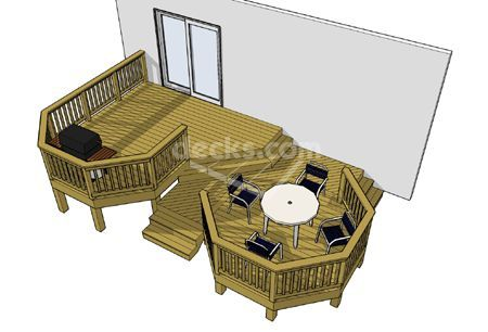 This Interesting 2 Level Deck Uses A Central Walkway And An Angled Stair To Connect 2 Distinct Octagonal Deck Areas A In 2020 Deck Plans Diy Free Deck Plans Diy Deck