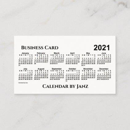 2021 Calendar by Janz Kraft White Business Card | Zazzle.