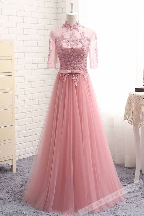 5ce27ff1c98b4 Pink tulle lace applique high neck half sleeves see-through long ...