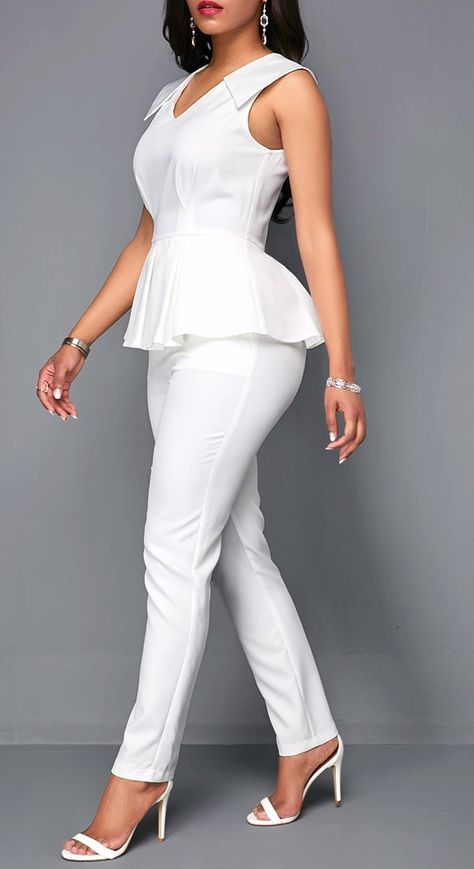 V Neck Sleeveless White Peplum Jumpsuit