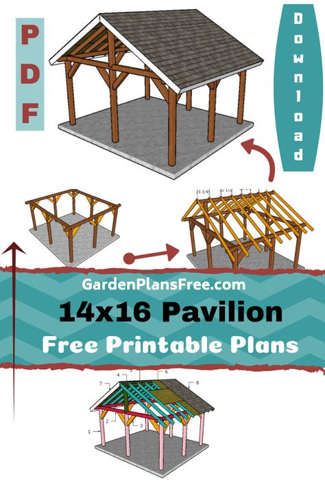 If you want to learn more about outdoor pavilion plans you have to take a close look over the free plans in the article. This large pavilion has a gable roof with a 30 degree slope, so you can build it even in areas with significant precipitations. Backyard Pavilion, Outdoor Pavilion, Outdoor Gazebos, Backyard Gazebo, Backyard Patio Designs, Pergola Designs, Carport Designs, Pavilion Wedding, Backyard Retreat