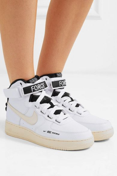 White Air Force 1 High Utility Textured Leather High Top Sneakers Nike Leather High Tops Sneakers High Top Sneakers