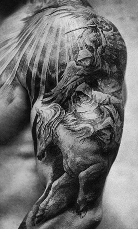 Angel Sleeve Tattoo Mens Angel Sleeve Tattoo Tatouage Epaule Homme Tatouage Epaule Tatouage D Ange