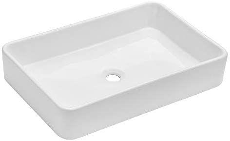 48 Square Vessel Sinks Bathroom White Square Ceramic Porcelain Vessel Sink For Faucet Vanity Sink Bathroom Sink Rectangular Sink Bathroom
