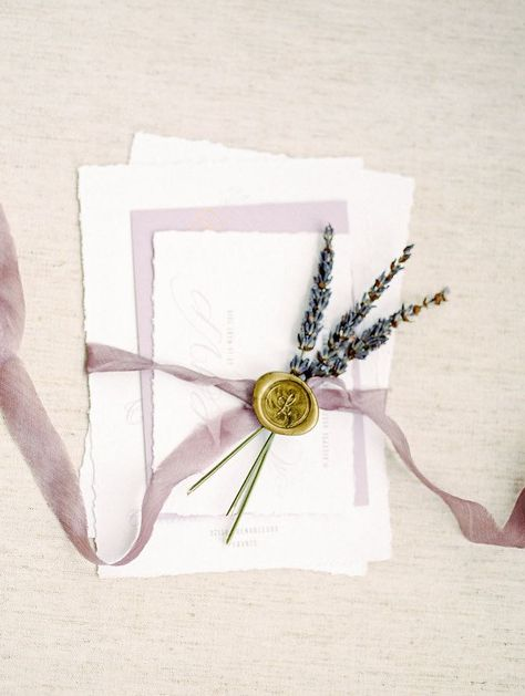 featured photographer: Alicia Lacey Photography; Lavender themed wedding invitation set