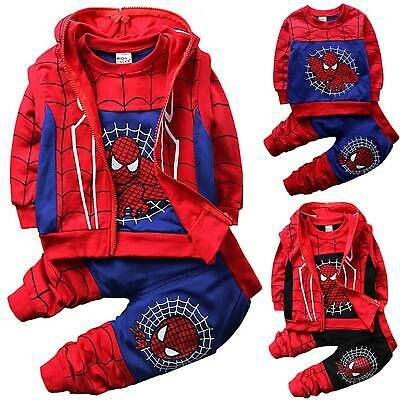 Baby Kids Toddler Boys Long Sleeve Spiderman Hooded Top+Pants Outfit Clothes Set