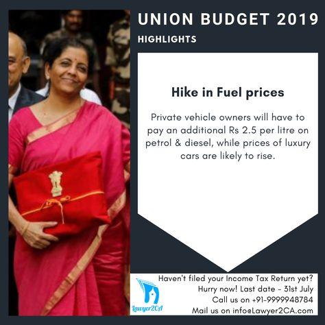 UNION BUDGET 2019 - Highlights :: @Lawyer2CA® - #unionbudget #budget #budget2019 #finance #money #NirmalaSitharaman #government #business #startup #entrepreneur #Lawyer2CA #Lawyer2CAVentures #delhi #bombay #bangalore #india #luxurycars #petrol #diesel #bmw #mercedes #fuel #hike
